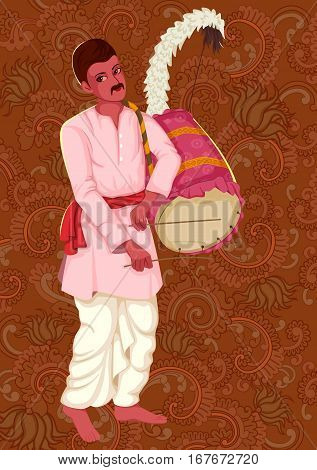 Vector design of artist playing Dhak Dhol folk music of West Bengal India on floral background
