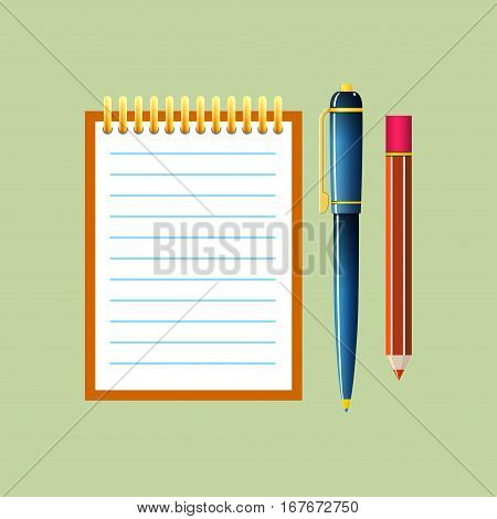 Notebook with a Pen and Pencil, Jotter Isolated on Green Background, Office Equipment