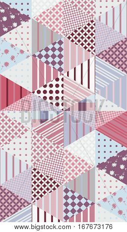 Romantic Patchwork Pattern. Seamless Background. Cute Vector Illustration Of Quilting.