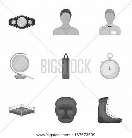 Boxing set icons in monochrome design. Big collection of boxing vector symbol stock illustration
