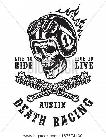 Racing emblem with skull in helmet, typography and springs