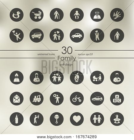family modern icons for mobile interface on blurred background