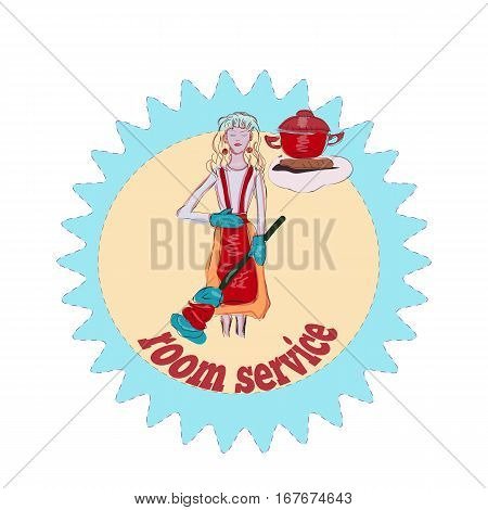 Happy housewife, room service logo, cute blond girl, cartoon vector