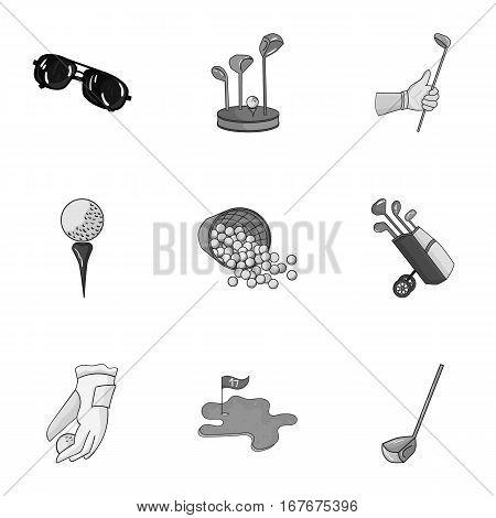 Golf club set icons in monochrome design. Big collection of golf club vector symbol stock illustration