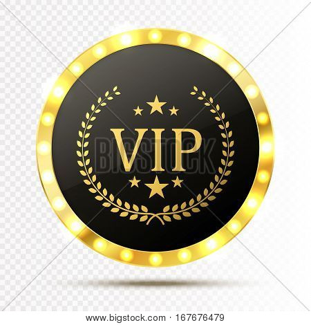 Vip invitation with golden badge, vector illustration