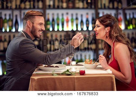 Couple at dinner together in restaurant