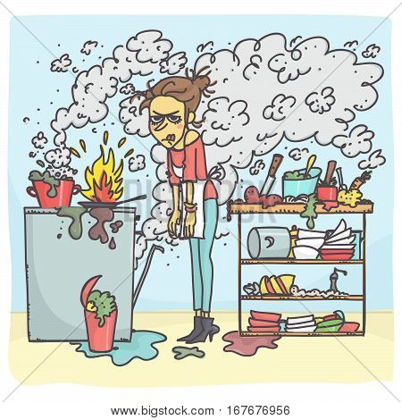 Cartoon illustration of stressed woman cooking in messy kitchen