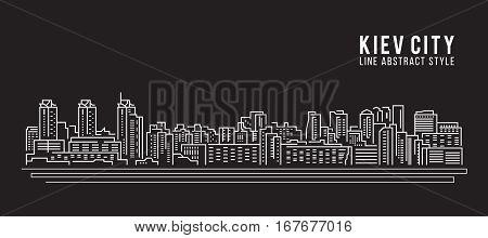 Cityscape Building Line art Vector Illustration design - Kiev city