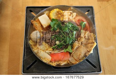 Chinese hot pot soup. Lunch of beef and vegetable Chinese hot pot soup
