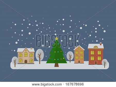 vector illustration of the evening city of the New Year. New Year's Eve and Christmas