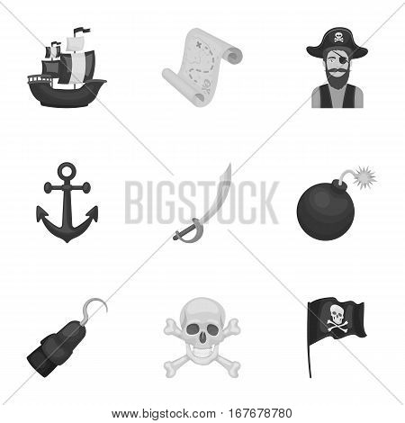 Pirates set icons in monochrome design. Big collection of pirates vector symbol stock illustration