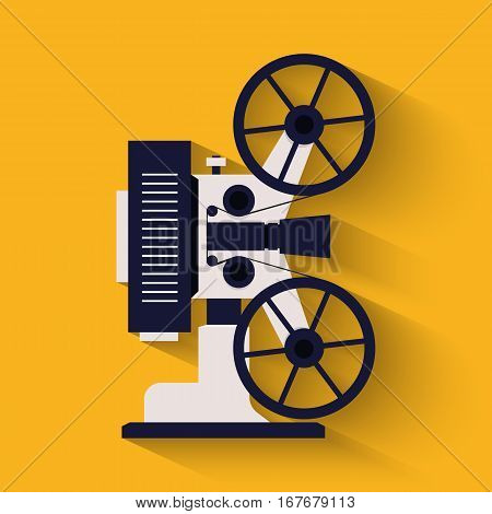 Old style movie camera flat icon. Retro Cinema projector. Vector illustration