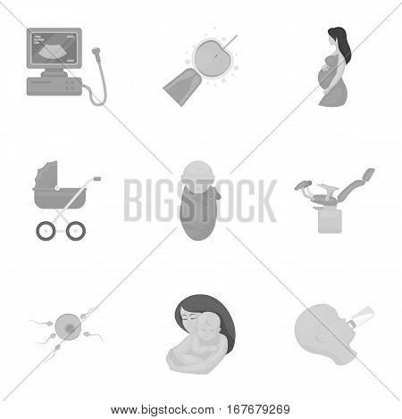 Pregnancy set icons in monochrome style. Big collection of pregnancy vector symbol stock