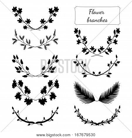 Hand drawn floral set made in vector. Flower branches collection design. Illustration of laurels, banners, floral elements. Greeting card and t-shirt design template.