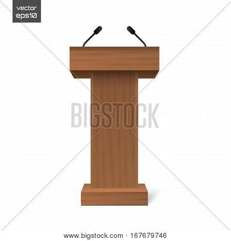 Podium Tribune Rostrum Stand with Microphones Isolated. Vector illustration