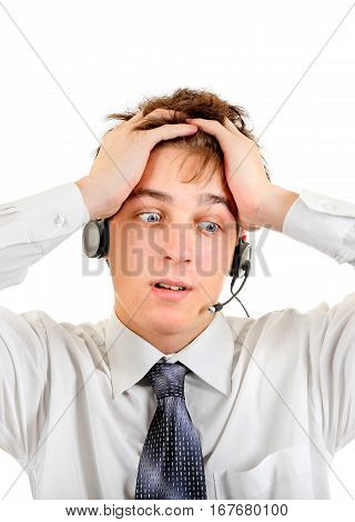 Troubled Teenager with Headset Isolated on the White Background