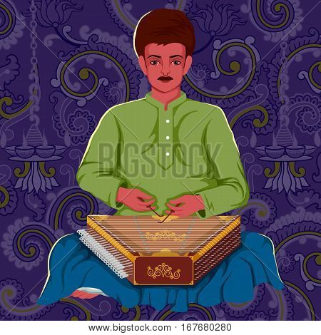 Vector design of artist playing Santoor folk music of India on floral background