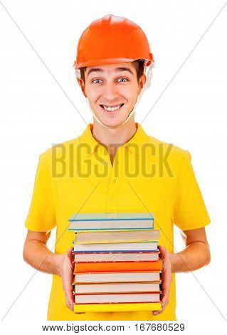 Cheerful Young Man in Hard Hat with a Books Isolated on the White Background