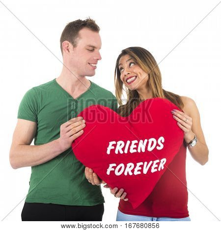 Love couple man and woman friends forever isolated over white background