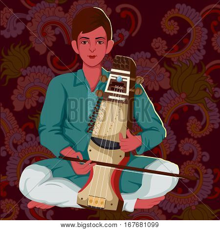 Vector design of artist playing Sarangi folk music of India on floral background