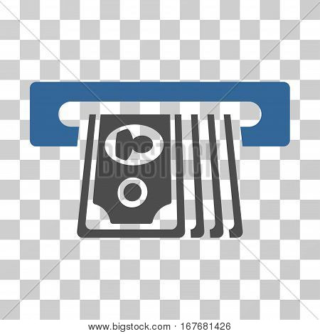 ATM Insert Cash icon. Vector illustration style is flat iconic bicolor symbol cobalt and gray colors transparent background. Designed for web and software interfaces.