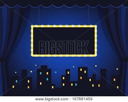 Vintage Stage with Dark Blue Curtains and Marquee Vector Sign.