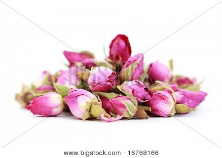 dried roses isolated on white background - flowers and plants