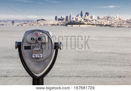 San Francisco Panorama with Bay bridge and the Binocular