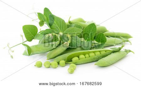 Fresh peas fruit with green leaves on a white background.