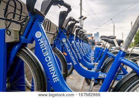 Melbourne Australia - December 27 2016: Bike share station located at Flinders Street opposite Federation Square. People can hire bikes and explore the city