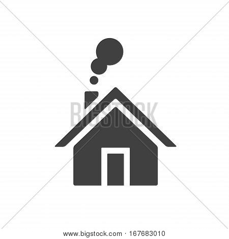 House with smoke going from chimney. Home icon placed on whte background.