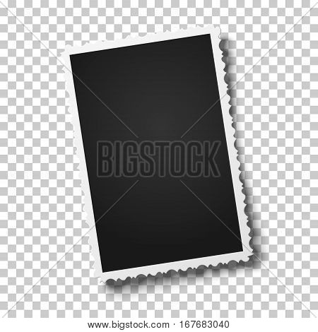 Realistic vector retro photo frame with figured edges placed vertically slightly tilted on transparent background. Template photo design.