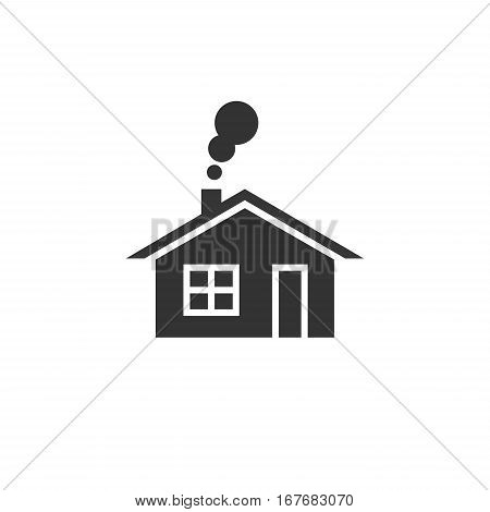 Home icon. House with smoke going from chimney.