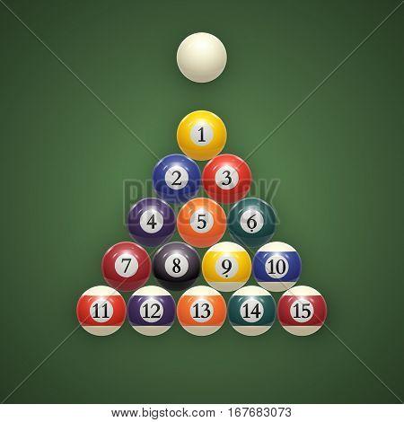 Billiard balls on table. Eps 10. vector illustration
