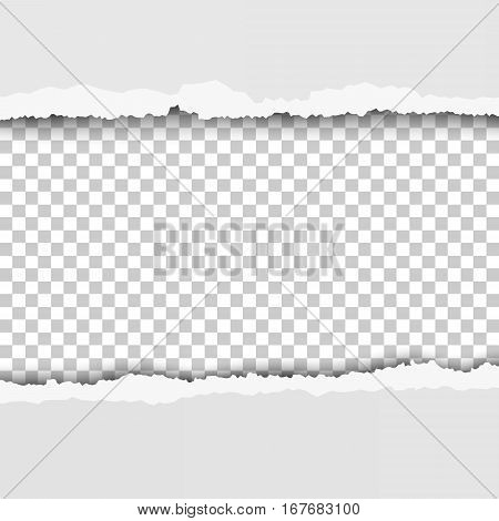 Torn snatched window in sheet of paper. Checkered transparent background of the hole.