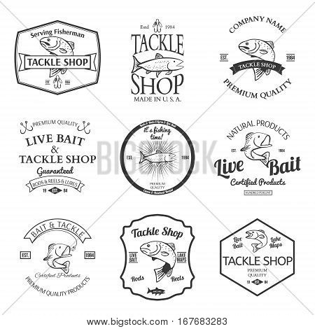 Tackle And Bait Shop Label Design Elements Emblem Vector illustration