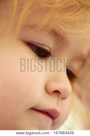 Adorable face of cute baby boy with brown eyes cheeks and blond hair outdoors on sunny day on blurred background