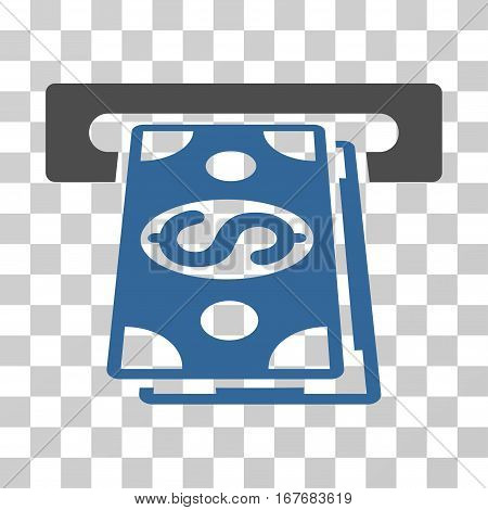 Cash Withdraw icon. Vector illustration style is flat iconic bicolor symbol cobalt and gray colors transparent background. Designed for web and software interfaces.