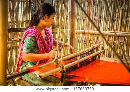 Weaving Woman In Bangladesh