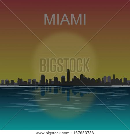 Miami skyline reflected at sunset vector illustration.