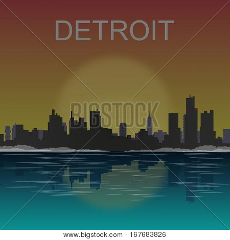 Detroit Michigan city skyline silhouette. Vector illustration.