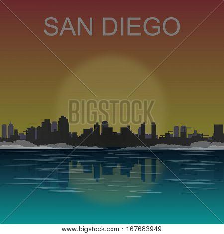 San Diego California skyline city silhouette vector illustration.