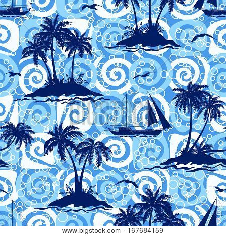 Exotic Seamless Pattern, Tropical Ocean Landscape, Islands with Palms Trees, Ships Sailing and Birds Seagulls Silhouettes on Abstract Tile Background with Spirals and Rings. Eps10 Vector