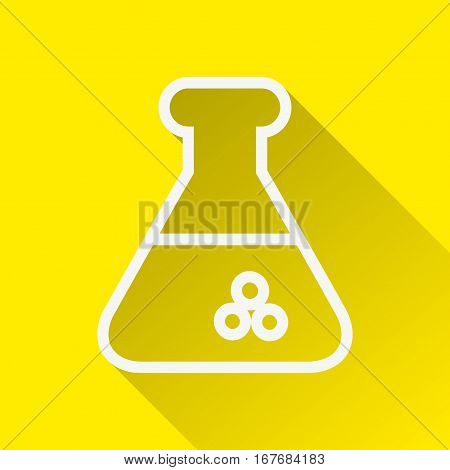 Flat Conical Flask icon with long shadow on yellow backround.