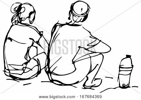 Vector Sketch Of Man And Woman Sitting On The Shore