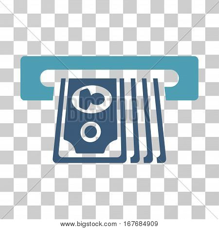 ATM Insert Cash icon. Vector illustration style is flat iconic bicolor symbol cyan and blue colors transparent background. Designed for web and software interfaces.