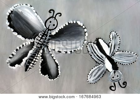 A child's drawing with black and white butterflies on a gray background.
