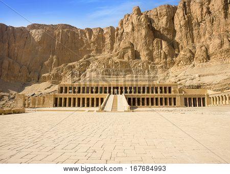 Ancient Ruins Of Queen Hatshepsut Temple, Luxor, Egypt.