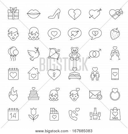 Valentine's Day linear icons set. Amour arrow and bow, teddy bear, present, man and woman, champagne, chatting, lovers bed, heart, 14 February. Thin line contour symbols. Isolated vector illustrations