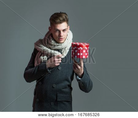 Handsome Guy With Present Box